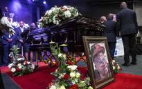 The casket of Jabulani 'HHP' Tsambo in Mmabatho Convention Centre in North West. Picture: Abigail Javier/EWN.