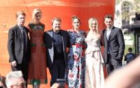 Actors Domhnall Gleeson, Elizabeth Debicki, James Corden, Rose Byrne, Margot Robbie and director/writer/producer Will Gluck attend the premiere of 'Peter Rabbit,' sponsored by Cost Plus World Market, at The Grove on 3 February 2018 in Los Angeles. Picture: AFP.