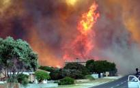 A fire seen in the Franskraal area on 11 January 2019. Fires are raging in Franskraal, Karwyderskraal, Betty's Bay, Gansbaai and Hermanus. Picture: Supplied.