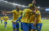 Brazil's Gabriel Jesus (2-R) celebrates with teammates after scoring against Argentina during their Copa America football tournament semifinal match at the Mineirao Stadium in Belo Horizonte, Brazil, on 2 July 2019. Picture: AFP