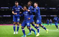 Chelsea players celebrate during a match in which they beat Tottenham Hotspur 2-0 on 22 December 2019. Picture: @ChelseaFC/Twitter.