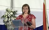 Western Cape Education MEC Debbie Schäfer addresses guests at the 2018 National Senior Certificate Awards at Leeuwenhof on January 2019. Picture: Kevin Brandt/EWN.