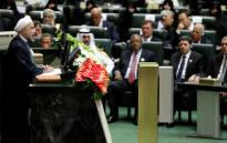Iran's President Hasan Rouhani delivers a speech in the Iranian Parliament in Tehran. Picture: AFP.