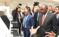 President Cyril Ramaphosa on 17 October 2019 toured the Mara Group Cellphone Plant launch at Durban Dube Trade Port. Picture: @GCISMedia/Twitter