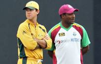 Ricky Ponting (left) and Brian Lara (right) are two of the cricket legends participating in the charity game to aid Australian bushfire relief. Picture: AFP