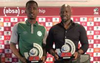 Bloemfontein Celtic duo of Alfred Ndengane (left) and Steve Komphela (right) with their PSL awards. Picture: @OfficialPSL/Twitter