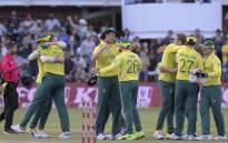 South Africa players celebrate their win in the second T20 international cricket match against Australia at the St George's Park Cricket Ground in Port Elizabeth on 23 February 2020. Picture: AFP