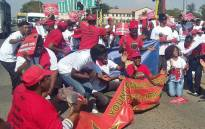 FILE: Nehawu members in the North West province protest. Picture: @nehawuNW/Twitter