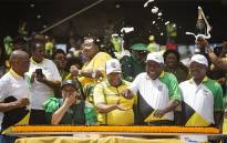 ANC national officials celebrate at the party's election manifesto launch at Moses Mabhida stadium in Durban on 12 January 2019. Picture: : Sethembiso Zulu/EWN
