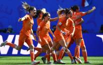Netherlands' players celebrate after scoring a goal during the France 2019 Women's World Cup quarter-final football match between Italy and Netherlands, on 29 June 2019, at the Hainaut stadium in Valenciennes, northern France. Picture: AFP.