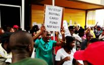 A group of students at the University of Johannesburg protest the lack of Nsfas funding on 27 January 2014. Picture: Sebabatso Mosamo/EWN.