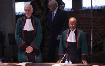 Justice Edwin Cameron and Chief Justice Mogoeng Mogoeng at a special sitting of the Constitutional Court on 20 August 2019. Picture: Abigail Javier/EWN