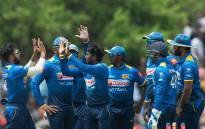 Sri Lanka's Akila Dananjaya celebrates with teammates after taking his fifth wicket during their match against South Africa. Picture: @OfficialCSA/Twitter