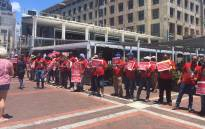 Nehawu affiliated members strike at the Robben Island Museum at the V & A Waterfront in Cape Town on 9 January 2020. Picture: Jarita Kassen/EWN