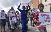 Children join their parents during a demonstration against gang violence in Lentegeur, Cape Town. Picture: Kaylynn Palm/EWN.