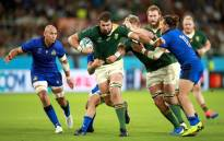 South Africa carries the ball deep into Italy territory during their 2019 Rugby World Cup match. Picture: @Springboks/Twitter