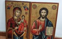 A picture taken on January 18, 2021 shows two 18th-century religious icons depicting Jesus and Mary that were stolen in Greece and were seized by Lebanese authorities during an auction in the capital Beirut. Picture: AFP