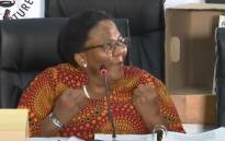 A screengrab of former Transport Minister Dipuo Peters appearing at the state capture inquiry on 17 March 2021. Picture: SABC/YouTube