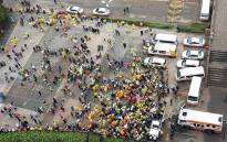 Jozi@Work employees demonstrate at the Johannesburg mayor's offices. Picture: Kgothatso Mogale/EWN.