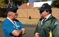 Deputy Minister of Sport and Recreation Gert Oosthuizen (R) and Talk Radio 702's John Jobbie at the Discovery 702 Walk the Talk race in Johannesburg on 22 July, 2012. Picture: @Abramjee via Twitter