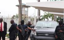 Security forces temporarily blocked the entrance to Nigeria's Parliament on Tuesday. Picture: Twitter/@NGRSenate.