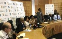 Minister of Water and Sanitation Lindiwe Sisulu briefs the media on Gauteng's water crisis on 28 October 2019 in Johannesburg. Picture: Thando Kubheka/EWN.