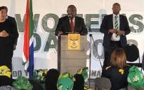 President Cyril Ramaphosa delivers the keynote address on Women's Day at the Mbekweni Rugby Stadium in Paarl in the Western Cape. Picture: Twitter/@SAgovnews.
