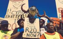 Saftu members across the country took to the streets to express their disapproval over the proposed R20 per hour minimum wage. Picture: @SAFTU_media/Twitter
