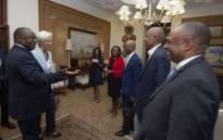 President Cyril Ramaphosa, Reserve Bank Governor Lesetja Kganyago and Deputy Daniel Mminele with IMF's Christine Lagarde. Picture: @SAgovnews/Twitter.