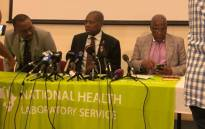 Minister of Health Dr Zweli Mkhize (c), Home Affairs Minister Aaron Motsoaledi (R) are briefing the media on the country's preparedness to detect, manage and contain any threat of novel Coronavirus entering the country. Picture: Mia Lindeque/EWN.