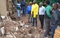 Ethekwini Mayor Mxolisi Kaunda inspects the damage caused by recent floods in the area. Picture: @eThekwiniM/Twitter