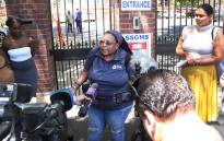 The mother of San Souci Girls' High School addresses the media a day after her daughter was slapped by one of her teachers. Picture: Bertram Malgas/EWN.