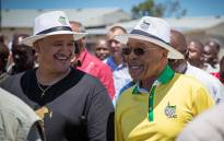 FILE: ANC president Jacob Zuma is accompanied by the party's Western Cape Secretary Marius Fransman on a walkabout through Philippi in Cape Town on 6 January 2015. Picture: Aletta Gardner/EWN