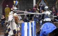 "Two jousting competitors come together during the inaugural ""Ashes"" jousting tournament between Australia and England at the Kryal Castle in Leigh Creek, some 100 kms west of Melbourne, on 3 November 2019. Picture: AFP"