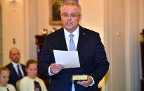 New Australian Prime Minister Scott Morrison takes part in an oath-taking ceremony to become the nation's new leader at Government House in Canberra on 24 August 2018. Picture: AFP.