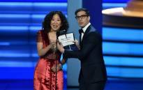 Lead actress in a drama series nominee Sandra Oh and Andy Samberg onstage during the 70th Emmy Awards at the Microsoft Theatre in Los Angeles, California on 17 September 2018. Picture: AFP