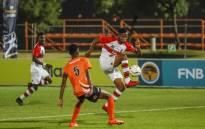Nhlanhla Mabaso of Tuka and Potoko Mametja of UJ during the FNB Varsity Cup Soccer match between UJ and Tuks at UJ Soweto Campus in Johannesburg on 2 August 2018. Picture: Dominic Barnardt/VarsitySports