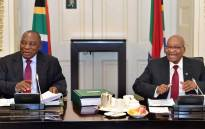 President Jacob Zuma met with Deputy President Cyril Ramaphosa (right), Ministers and Deputy Ministers at scheduled routine meetings of Cabinet committees on 7 February 2018. Picture: GCIS.