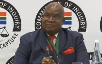 A YouTube screengrab of former Public Service and Administration Minister Richard Baloyi testifying at the state capture commission of inquiry in Parktown, Johannesburg, on 3 December 2019.