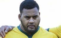 Australia's prop Taniela Tupou listens to the anthems prior to the Bledisloe Cup rugby union Test match between the New Zealand All Blacks and Australia at Yokohama International Stadium in Yokohama on 27 October 2018. Picture: AFP
