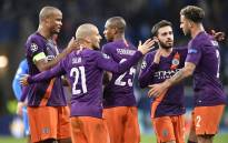 Manchester City players celebrate after the UEFA Champions League group F football match between TSG 1899 Hoffenheim and Manchester City at the Rhein-Neckar-Arena in Sinsheim, southwestern Germany, on 2 October 2018. Picture: AFP
