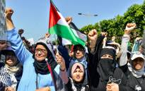 FILE: Women chant slogans and gesture as they march with Palestinian flags during a demonstration in the Moroccan capital Rabat on 23 June 2019. Picture:AFP