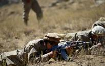 Afghan resistance movement and anti-Taliban uprising forces take part in a military training on 2 September 2021. Picture: AFP