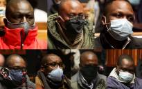 Seven suspects arrested in connection with the multibillion rand VBS heist appeared in the Palm Ridge Regional Court on 18 June 2020. They are: (top row, from left to right) Tshifhiwa Matodzi,  Andile Ramavhunga, Phophi Mukhodobwane, (bottom row from left to right) Sipho Malaba, Avhashoni Ramikosi, Ernest Nesane and Paul Magula. Picture: Kayleen Morgan/EWN.
