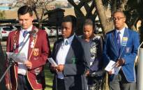 Learners from Hoërskool Bastion (left) in Krugersdorp and Madiba Secondary School (right) in Kagiso attend a ceremony after their schools were twinned by the Gauteng Education Department on 28 August 2019. Picture: @EducationGP/Twitter