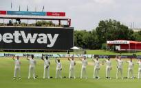 South African players, the Proteas, raised their fists in an anti-racism gesture at the start of their two-Test series against Sri Lanka at SuperSport Park in Centurion, in support of the Black Lives Matter movement. Picture: @OfficialCSA/Twitter