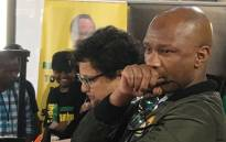 ANC spokesperson Zizi Kodwa (foreground) and deputy secretary-general Jessie Duarte at a media conference at Nasrec on 17 December 2017. Picture: @MYANC/Twitter