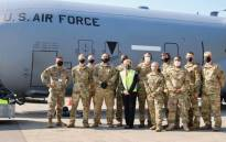 US Air Force members seen with US ambassador to South Africa Lana Marks on 15 August 2020 when PPE donations were delivered to South Africa amid the COVID-19 pandemic. Picture: @USEmbassySA/Twitter