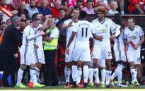 """Manchester United team celebrates after beating Bournemouth 3-1. Picture: @ManUtd.Manchester United team. Picture: @ManUtd."""""""