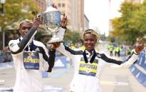Kenyan's Benson Kipruto and Diana Kipyogei win Bost Marathon. Picture: @WorldAthletics/Twitter.
